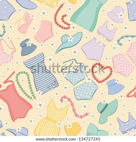 Seamless pattern with retro bikini. - stock vector