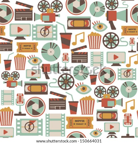 seamless pattern with retro cinema icons - stock vector