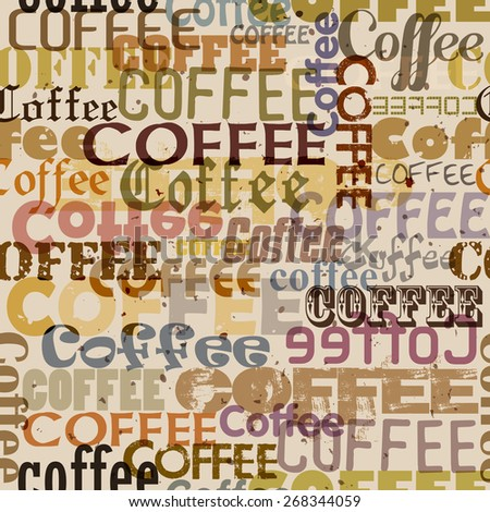 Seamless pattern with retro coffee typographical Background - stock vector
