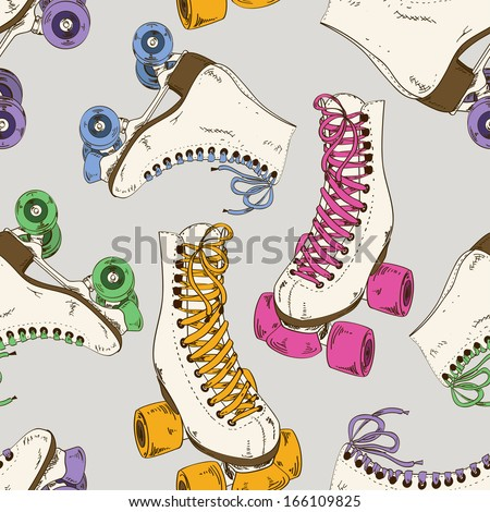 Seamless pattern with retro roller skates - stock vector