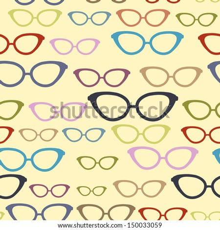 Seamless pattern with retro sunglasses - stock vector
