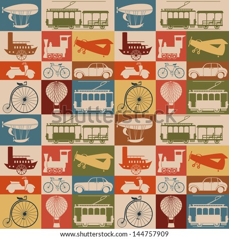 Seamless pattern with retro transport. - stock vector