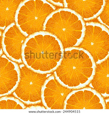Seamless pattern with ripe orange - stock vector