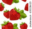 Seamless pattern with  ripe strawberry - stock vector