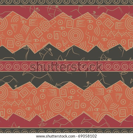 Seamless pattern with rock paintings and figures - stock vector
