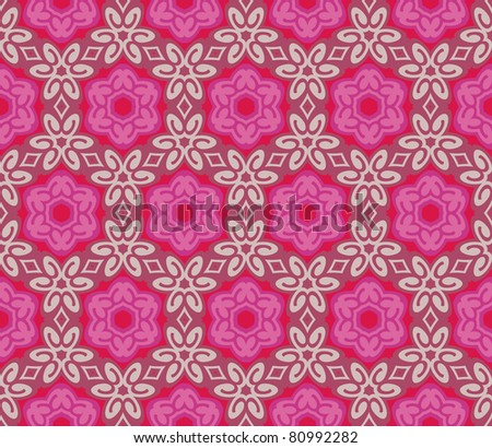 Seamless pattern with romantic flowers and leaves - stock vector