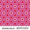 Seamless pattern with romantic flowers with polkadots - stock vector