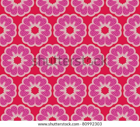Seamless pattern with romantic flowers with polkadots