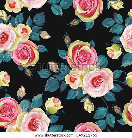 Seamless pattern with rose. Spring vintage floral background. Beautiful vector illustration texture
