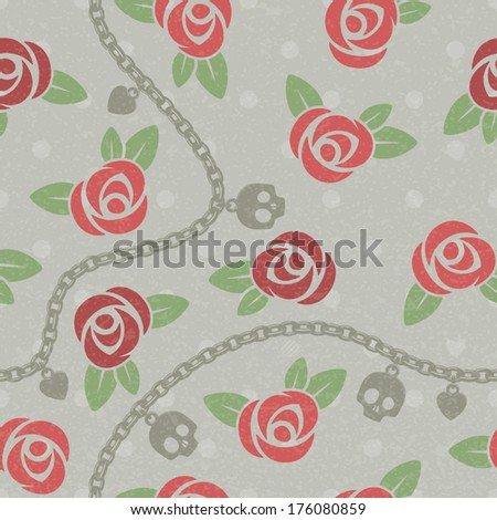 Seamless pattern with roses, chains, skulls and hearts on polka dots back. Vintage design. Faded beige, red and green colors. - stock vector
