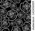 Seamless pattern with roses contours. Vector illustration. - stock vector
