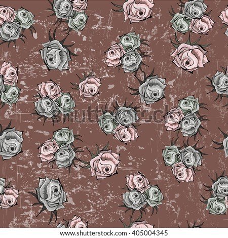 Seamless pattern with roses on dark pink background.