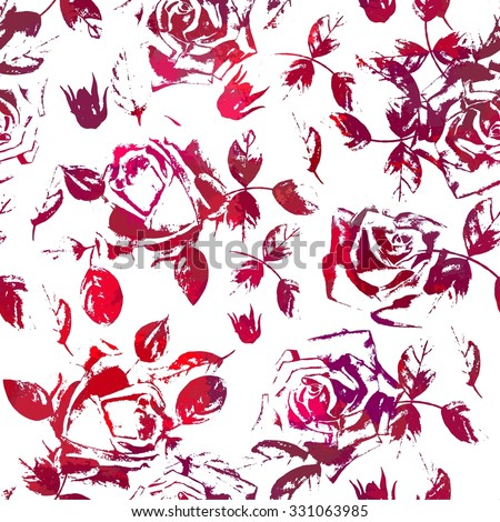 Seamless pattern with roses. Stylish endless background. - stock vector