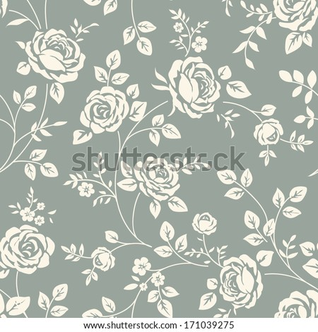 Seamless pattern with roses. Vintage background with blooming roses. Floral wallpaper - stock vector
