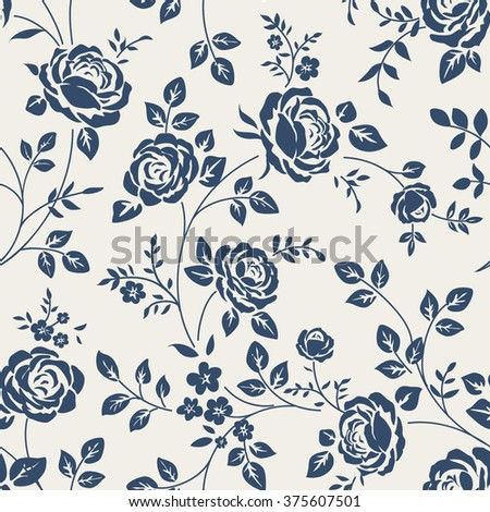 Seamless pattern with roses. Vintage floral background. Seamless wallpaper with vintage roses - stock vector