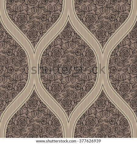 Seamless pattern with roses. Vintage. Freehand drawing - stock vector