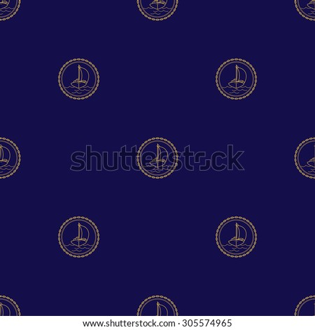 Seamless Pattern with Sailboat, Sailing Ship on a Navy Background, Seamless Pattern of Maritime Emblem for Web Design and Wallpaper and Fabric,  Vector Illustration - stock vector