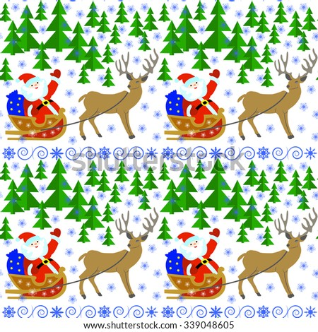 Seamless pattern with Santa Claus in a sleigh with reindeer in the winter forest.