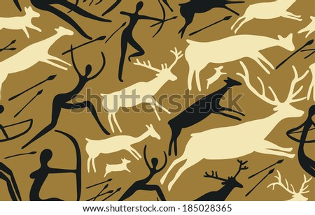 Seamless Pattern with Scene of Hunting and Primitive Figures - stock vector