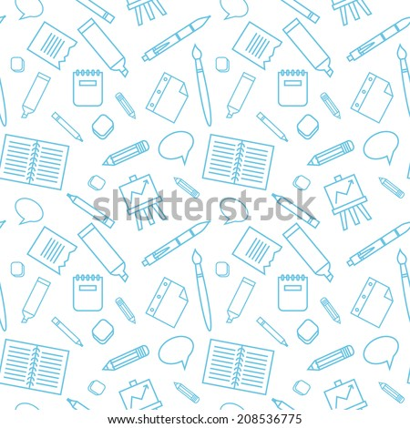 Seamless pattern with school elements.  Background to school doodles. - stock vector