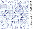 Seamless pattern with school objects stylized under drawn in a copybook - stock photo
