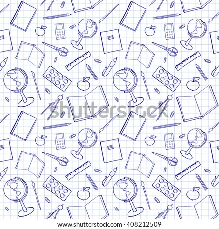 Seamless pattern with school-related items. Sketch-like illustration of books, pens and other objects for studies. Background imitating a sheet of paper from a copy-book. Already in swatches. - stock vector