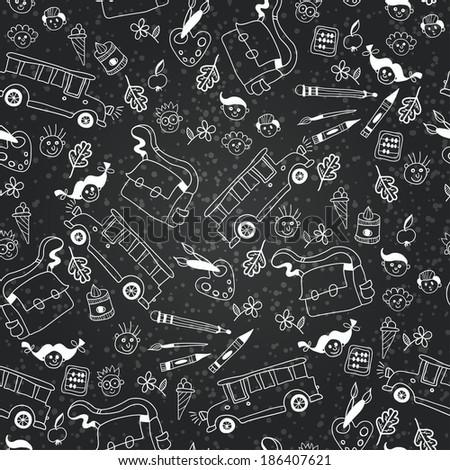 Seamless pattern with school supplies. Vector chalkboard school  background - stock vector