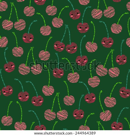Seamless pattern with scratched smiling cherries, summer harvest background. Japanese manga style. Endless texture, fruit background. Dessert backdrop. Green background template. - stock vector