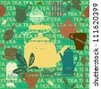 Seamless pattern with scratched tea related symbols and letters 3 - stock vector
