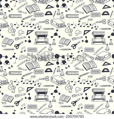 Seamless pattern with scribbled school stationery. Hand drawn back to school doodles. Sketched chalkboard, notes, books, paint, pencil, molecules. Tiling back to school background. - stock vector