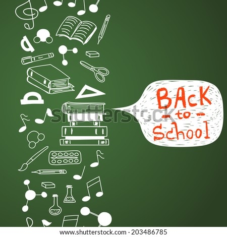 Seamless pattern with scribbled school stationery. Hand drawn back to school doodles. Sketched notes, books, paint, pencil, molecules. Back to school background with text box on chalkboard. - stock vector