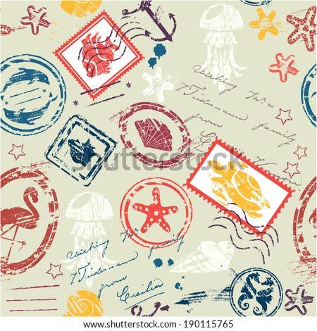 Seamless pattern with Sea and tropical elements - rubber stamps collection - stock vector
