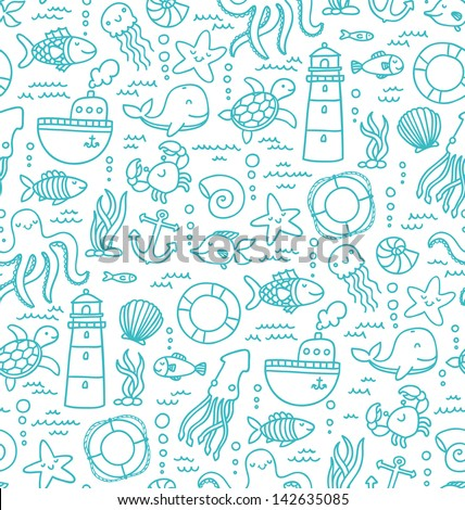 Seamless pattern with sea creatures doodles and nautical stuff - stock vector