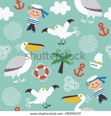 seamless pattern with sea elements - stock vector