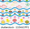 Seamless pattern with sea elements.Editable and scalable vector - stock photo