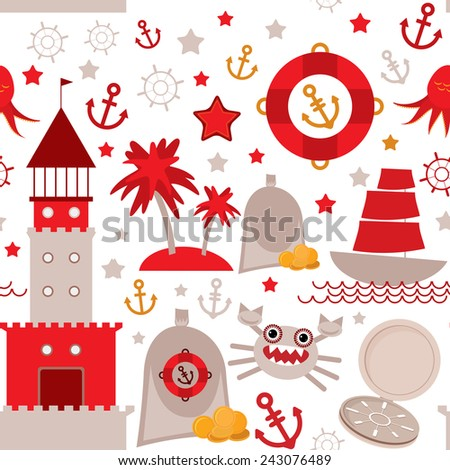 seamless pattern with sea icons on white background. Seamless pattern Red and gray. vector