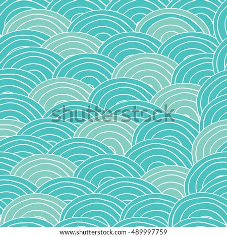 Seamless pattern with sea waves in handmade cartoon style. Cyan and blue color. Vector illustration