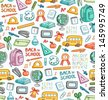 Seamless pattern with set of different school things in color - stock