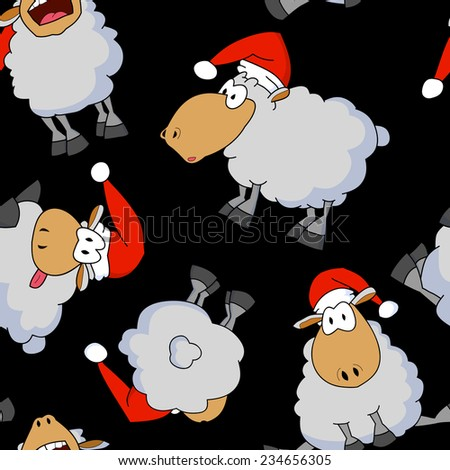 Seamless pattern with set of funny cartoon sheeps wearing Santa's hats. Chinese zodiac. Happy new year 2015.