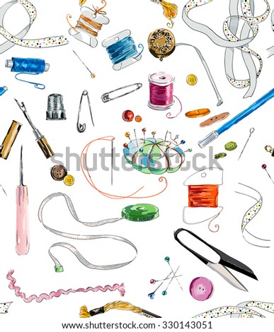 Seamless pattern with sewing & embroidery tools. Background with sewing tools and colored tape. Scissors, bobbins with thread and needles. Hand drawn vector illustration - stock vector