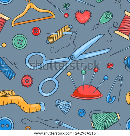 Seamless pattern with sewing tools. Vector cartoon background. - stock vector