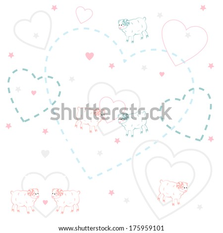 Seamless pattern with sheep . Vector  illustration. - stock vector