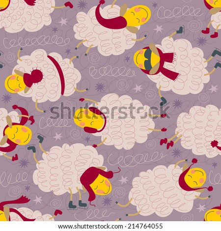 Seamless Pattern With Sheeps In Winter Clothes - stock vector