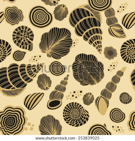 Seamless pattern with shells - stock vector