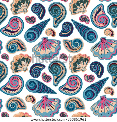 Seamless pattern with shells. Summer vector colorful background. Hand draw colorful sea shells backdrop - stock vector