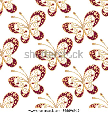 Seamless pattern with shiny gold and purple butterflies, vector - stock vector
