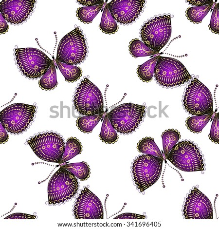Seamless pattern with shiny purple butterflies - stock vector