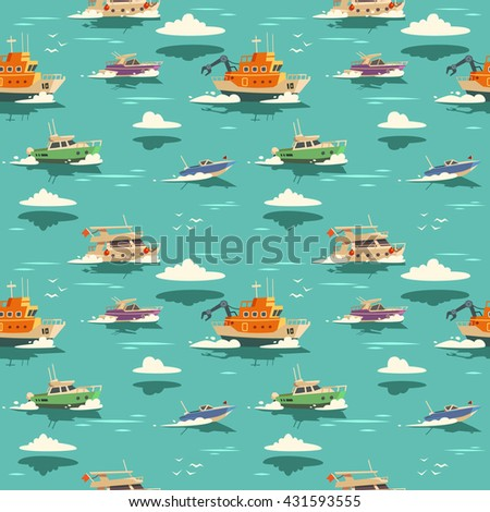 Seamless pattern with ships. Vector illustration. - stock vector