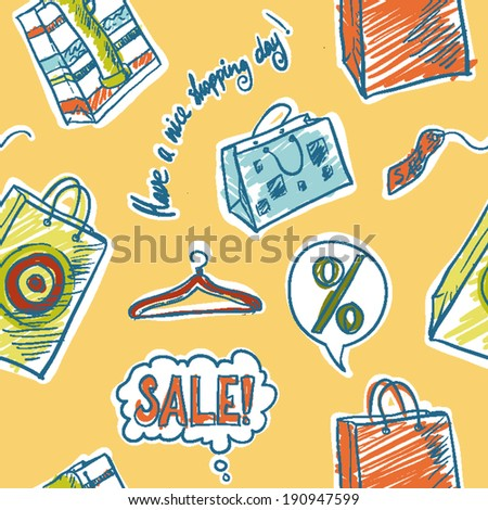 Seamless Pattern with Shopping - stock vector