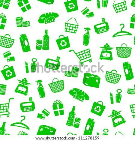 seamless pattern with shopping icons (JPEG available in my gallery) - stock vector